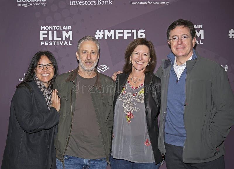 Jon Stewart y Stephen Colbert se juntan en el festival de cine de Montclair foto de archivo