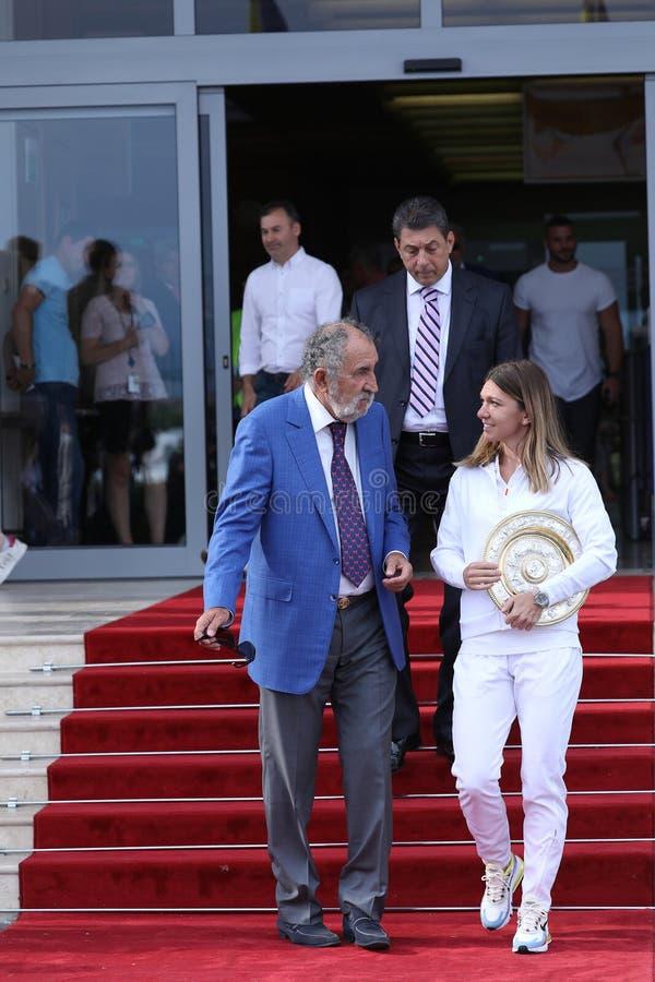 Jon Tiriac Halep i Simona zdjęcia stock