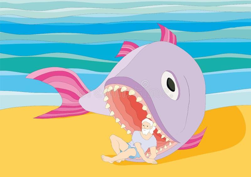 Jonah. Illustration with Jonah and the big fish vector illustration