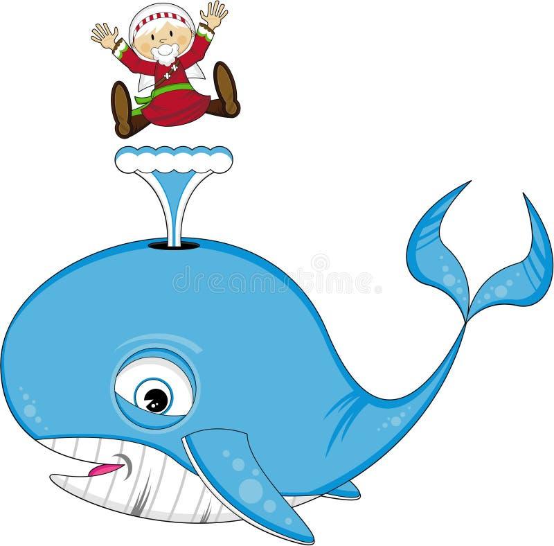 Jonah e a baleia ilustração stock