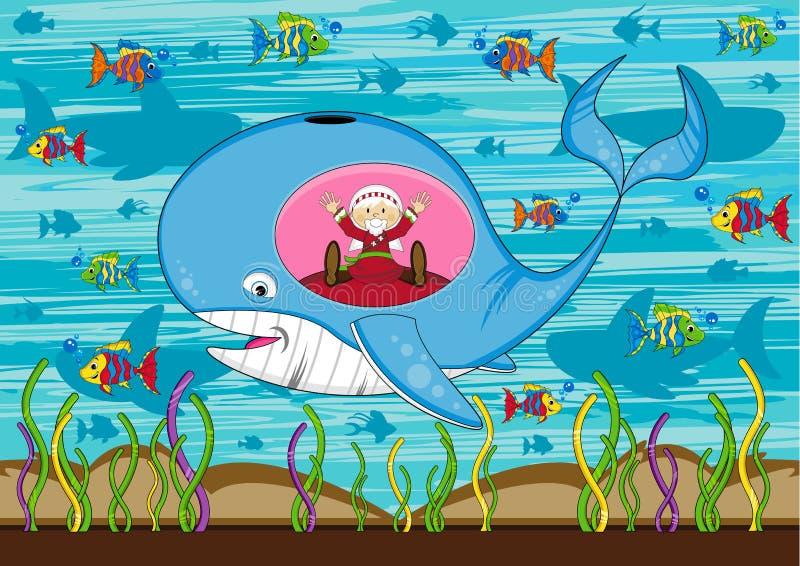 Jonah e a baleia ilustração do vetor