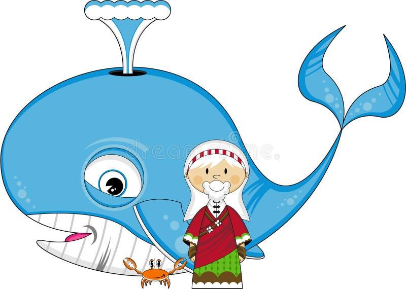Jonah e a baleia ilustração royalty free