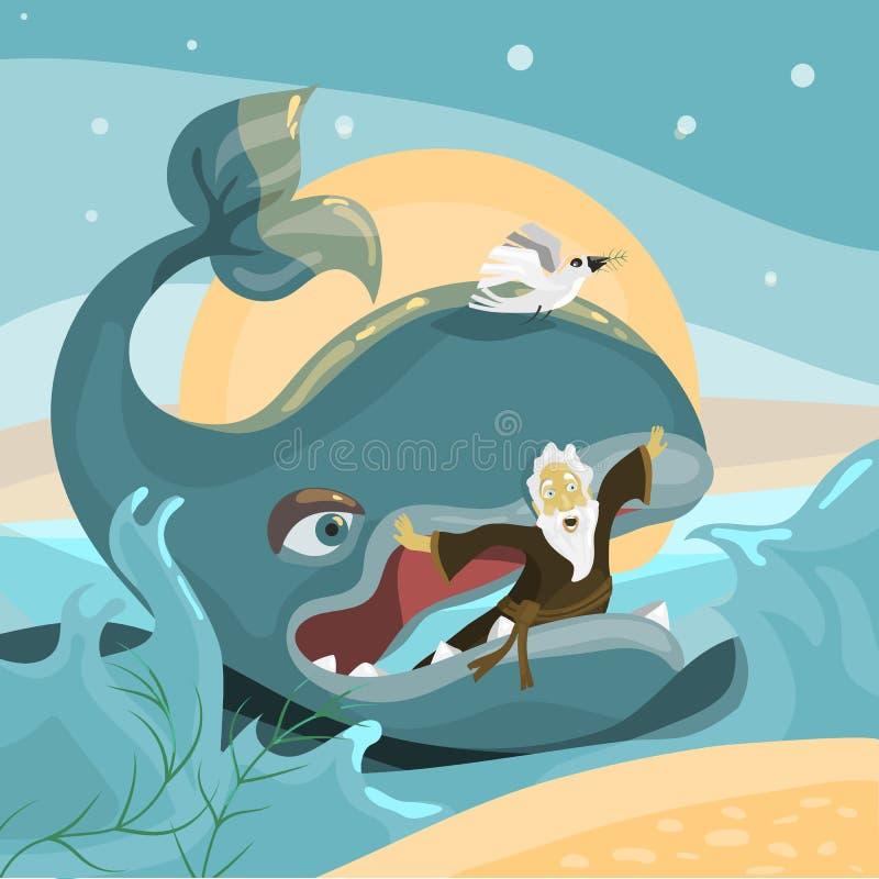 Jonah e a baleia - história da Bíblia ilustração royalty free