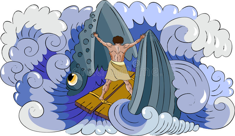 Jonah and fish vector illustration