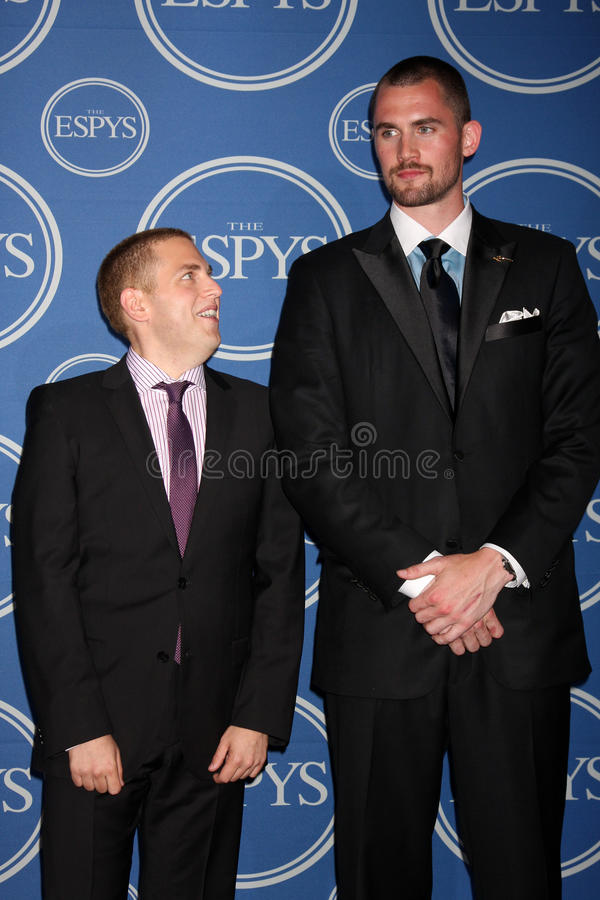 Jonah Hill, Kevin Love. LOS ANGELES - JUL 13: Jonah Hill, Kevin Love in the Press Room of the 2011 ESPY Awards at Nokia Theater at LA Live on July 13, 2011 in royalty free stock images