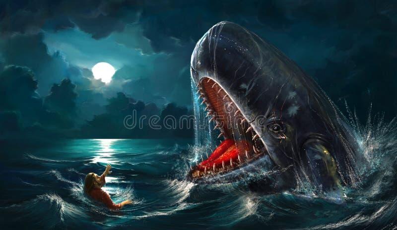 jonah wieloryb royalty ilustracja