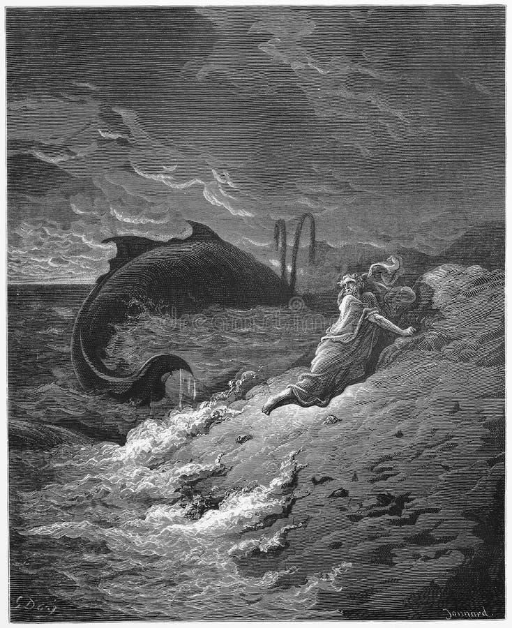 Jonah y la ballena stock de ilustración