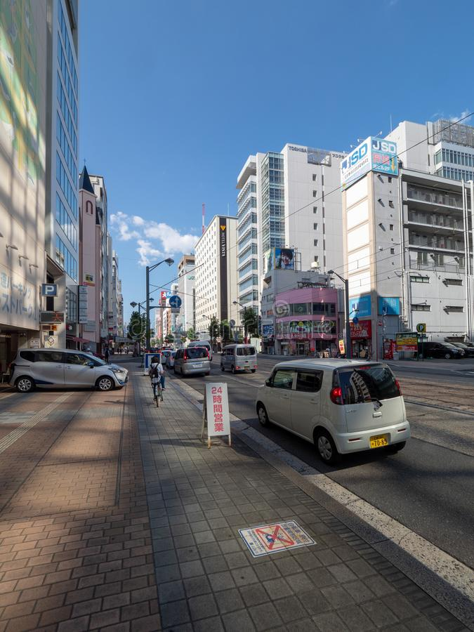 Jonan-Dori, straat, Hiroshima, Japan stock afbeeldingen