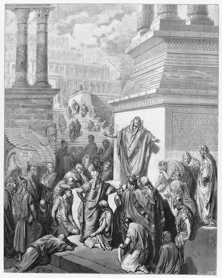 Jonas, das zum Ninevites predigt stock abbildung