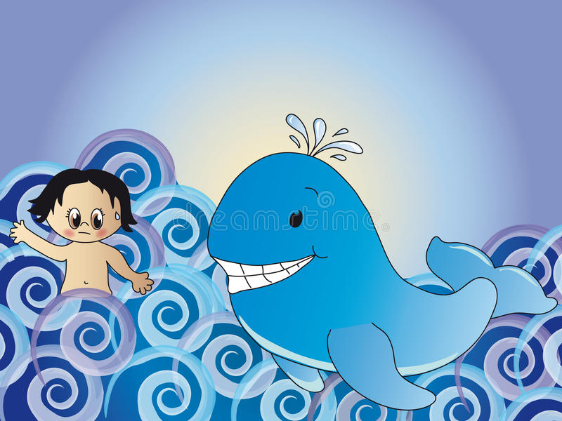 Jonas en de walvis royalty-vrije illustratie