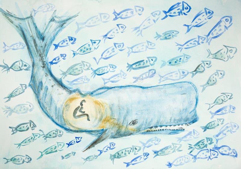 Jonas und der Wal umgeben durch viele Fische lizenzfreie abbildung