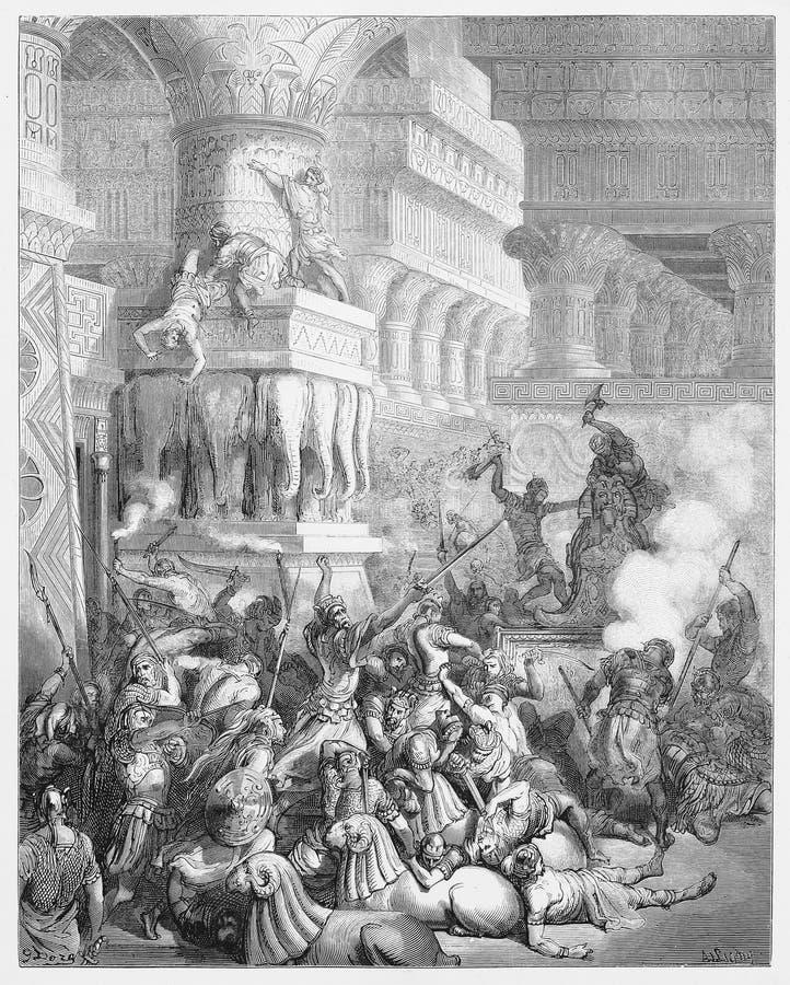 Jonathan Destroys der Tempel von Dagon lizenzfreie abbildung