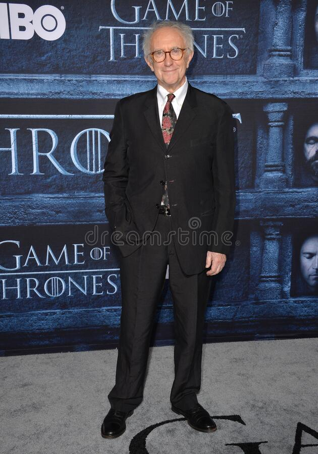 Jonathan Pryce. LOS ANGELES, CA. April 10, 2016: Actor Jonathan Pryce at the season 6 premiere of Game of Thrones at the TCL Chinese Theatre, Hollywood royalty free stock photography