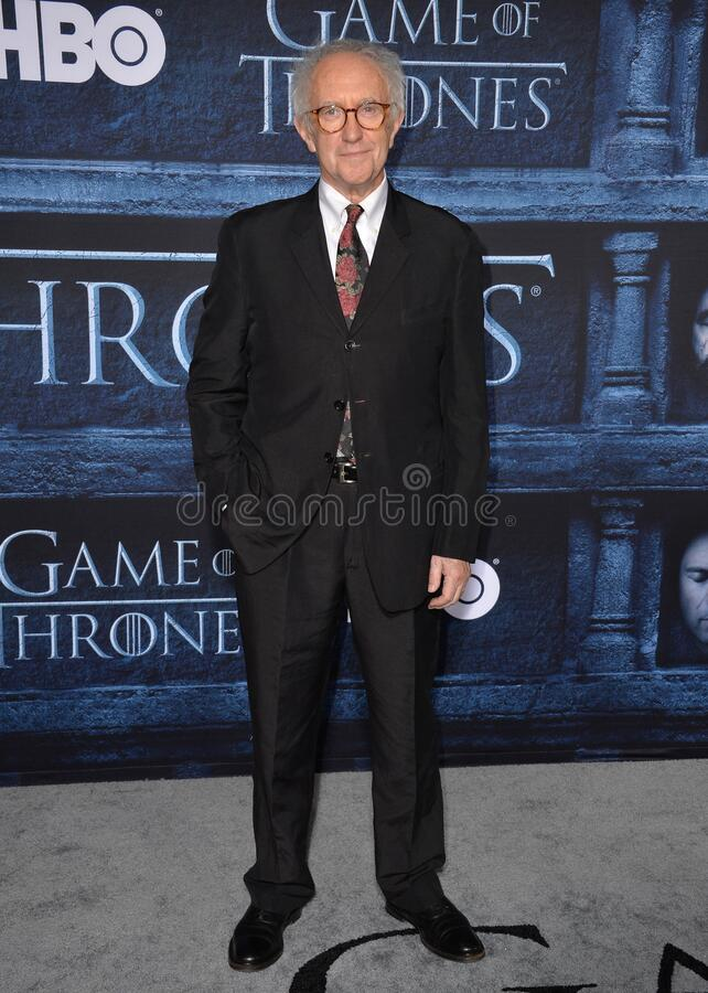 Jonathan Pryce. LOS ANGELES, CA. April 10, 2016: Actor Jonathan Pryce at the season 6 premiere of Game of Thrones at the TCL Chinese Theatre, Hollywood royalty free stock photo