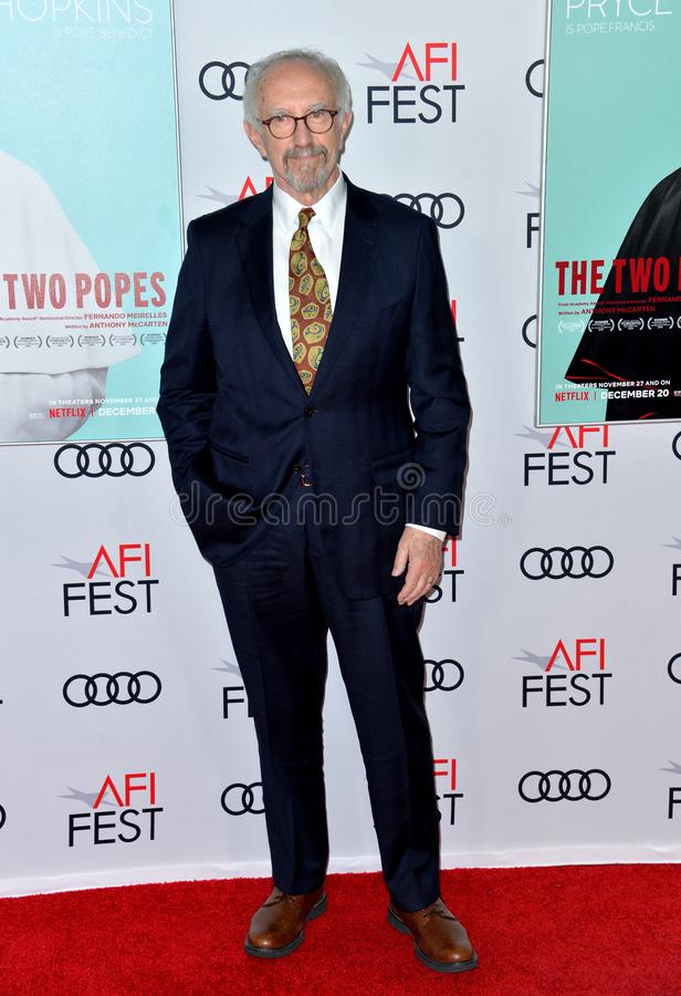 Jonathan Pryce. LOS ANGELES, USA. November 17, 2019: Jonathan Pryce at the gala screening for The Two Popes as part of the AFI Fest 2019 at the TCL Chinese stock photography