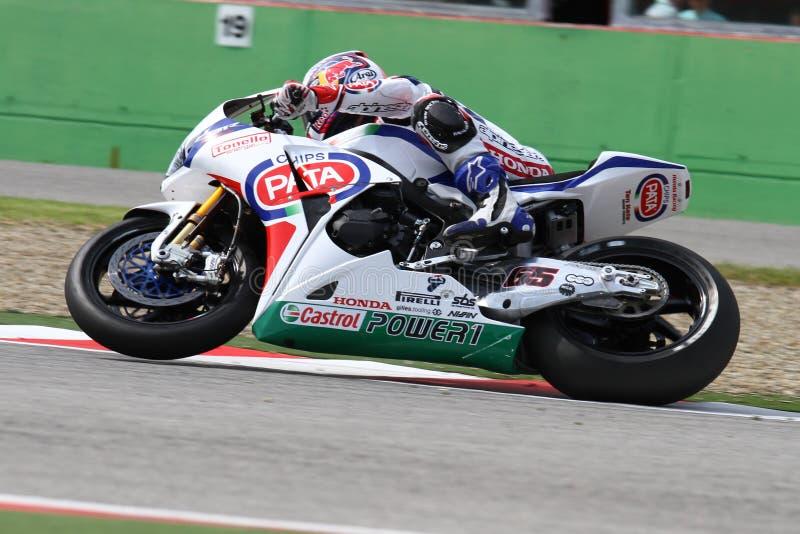 Jonathan Rea #65 em Honda CBR1000RR com Superbike WSBK de Pata Honda World Superbike Team fotografia de stock royalty free