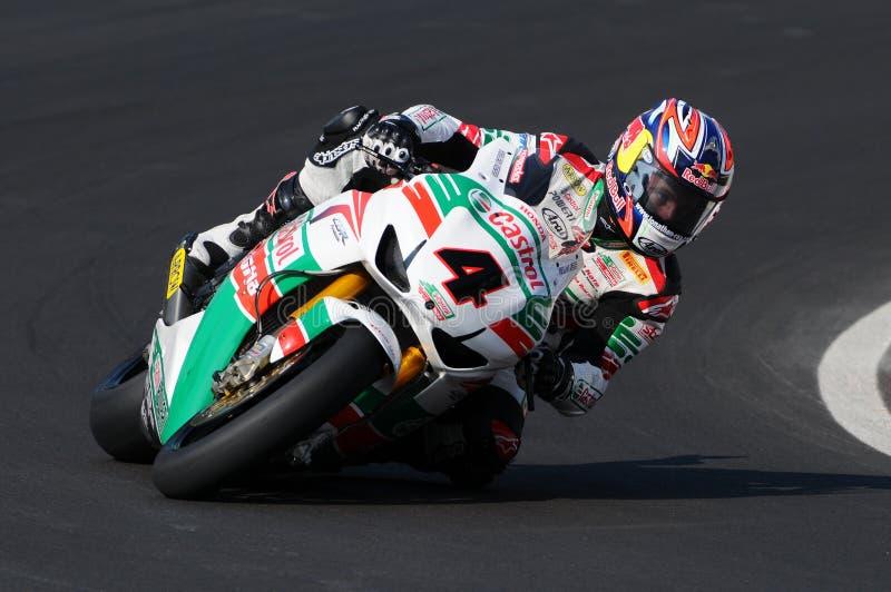 Jonathan Rea GBR Honda CBR1000RR Castrol Honda in actie tijdens de Superbike-Praktijk in Imola Circuit royalty-vrije stock afbeelding