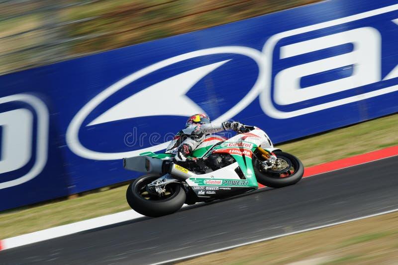 Jonathan Rea GBR Honda CBR1000RR Castrol Honda en la acción durante la práctica del Superbike en Imola Circuit foto de archivo libre de regalías