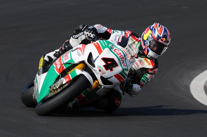 Jonathan Rea GBR Honda CBR1000RR Castrol Honda in action during the Superbike Practice in Imola Circuit royalty free stock image