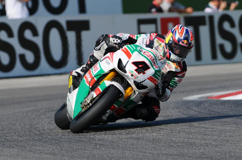 Jonathan Rea GBR Honda CBR1000RR Castrol Honda in action during the Superbike Practice in Imola Circuit stock image
