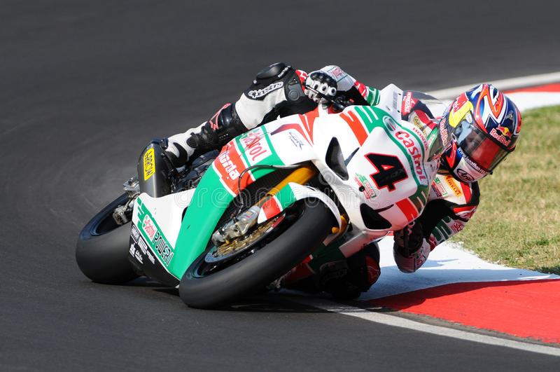Jonathan Rea GBR Honda CBR1000RR Castrol Honda in action during the Superbike Practice in Imola Circuit stock photography