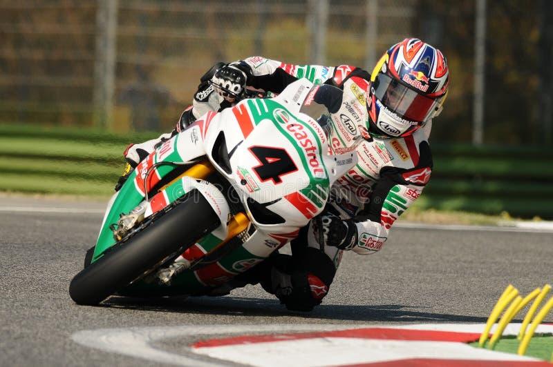 Jonathan Rea GBR Honda CBR1000RR Castrol Honda nell'azione durante la pratica del Superbike in Imola Circuit fotografia stock libera da diritti