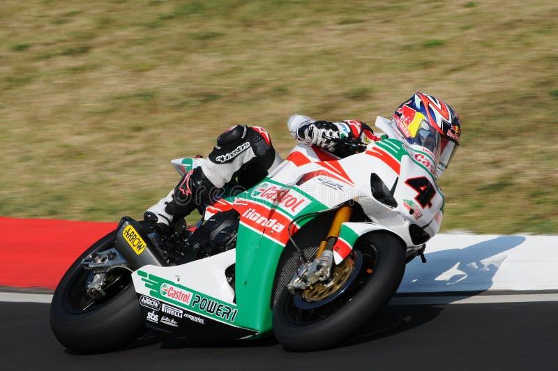 Jonathan Rea GBR Honda CBR1000RR Castrol Honda w akci podczas Superbike Ćwiczy w Imola obwodzie obrazy royalty free