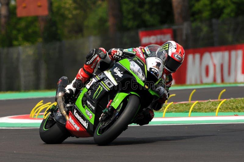 Jonathan Rea - GBR Kawasaki ZX-10R Kawasaki Racing Team royaltyfri bild