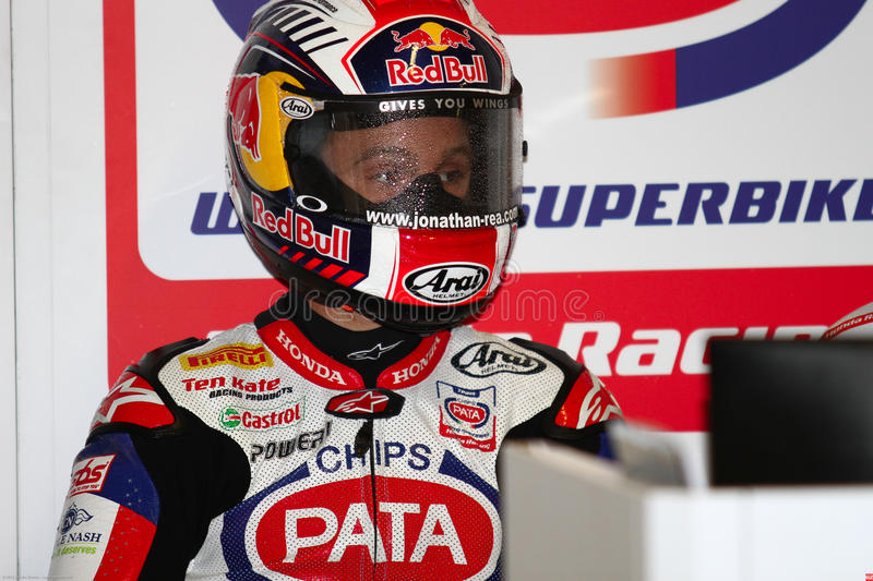 Jonathan Rea #65 på Honda CBR1000RR med den Pata Honda World Superbike Team superbiken WSBK arkivbild