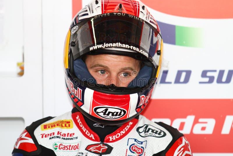 Jonathan Rea #65 på Honda CBR1000RR med den Pata Honda World Superbike Team superbiken WSBK royaltyfri bild