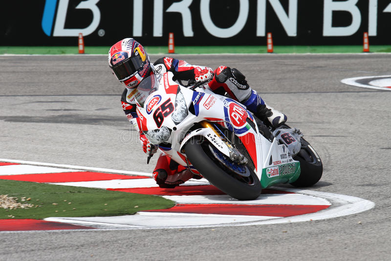 Jonathan Rea #65 på Honda CBR1000RR med den Pata Honda World Superbike Team superbiken WSBK royaltyfria foton