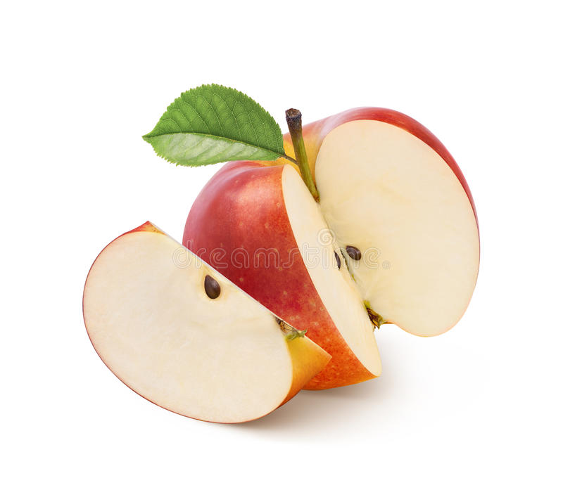 Jonathan red apple cut isolated on white. Jonathan red apple whole and piece isolated on white background as package design element stock images