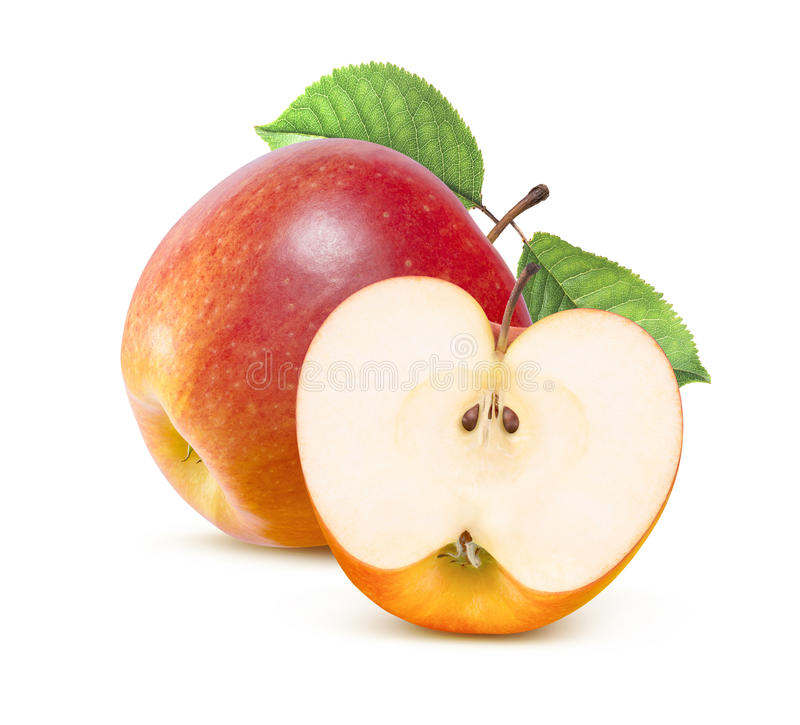 Jonathan red apple and half isolated on white. Jonathan red apple whole and half isolated on white background as package design element royalty free stock images