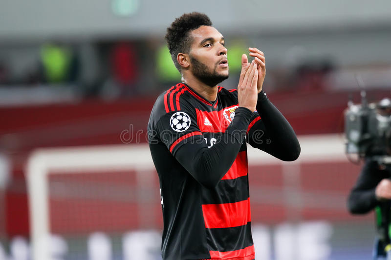 Jonathan Tah during the UEFA Champions League game between Bayer. Leverkusen, Germany- December 9, 2015: Jonathan Tah during the UEFA Champions League game stock images