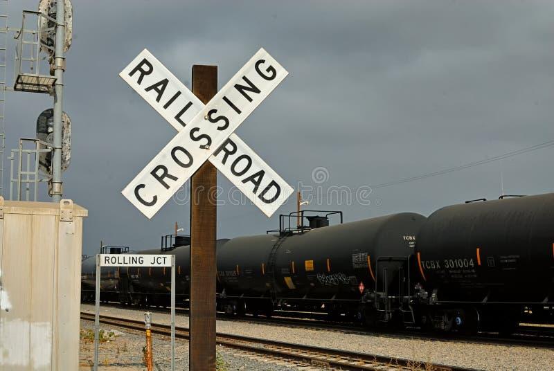Jonction de roulement à Wilmington où tous les wagons de chemin de fer portant l'huile pour apparaître images libres de droits