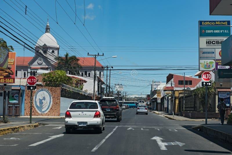 Jonction de route à San Ramon de los Palmares, Costa Rica photos libres de droits