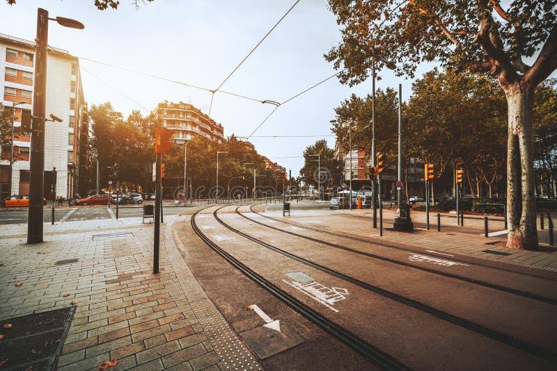 Jonction de route avec des tramways photo libre de droits