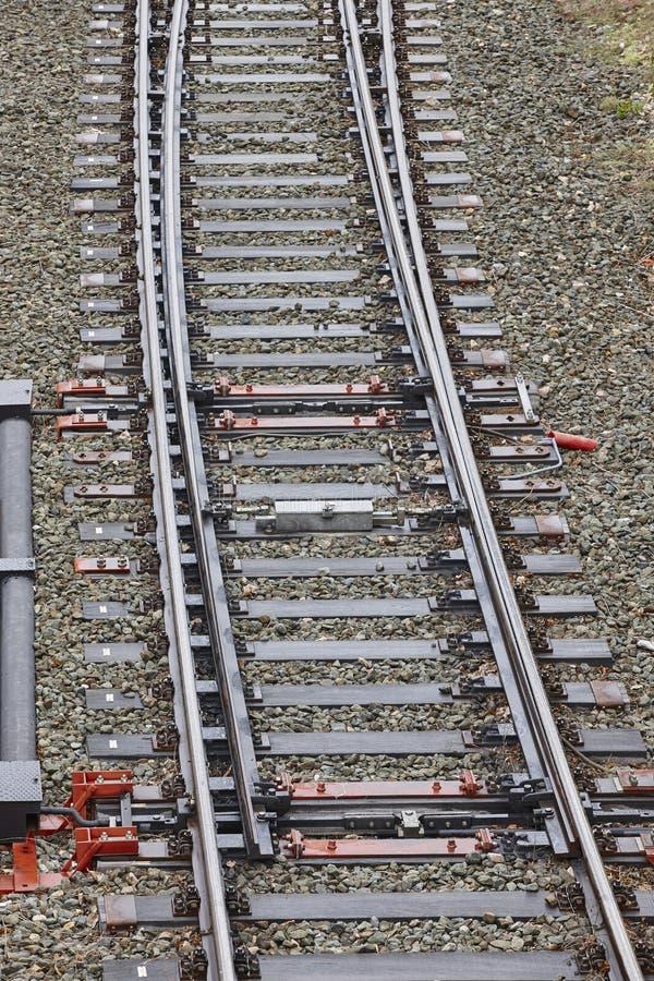 Jonction ferroviaire de commutateur de point Fond de voyage de transport photographie stock
