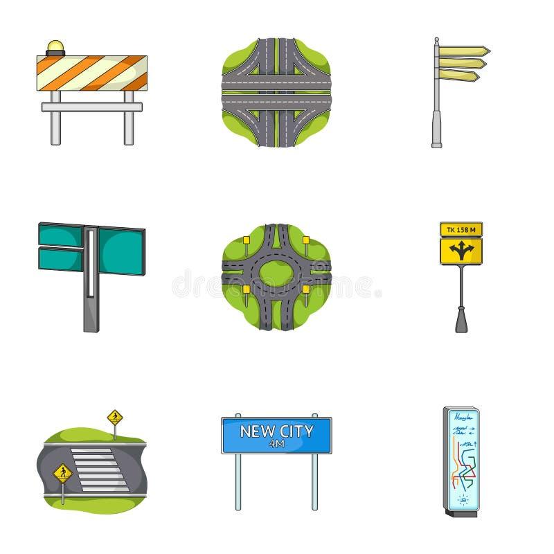 Jonctions de route et signes et toute autre icône de Web dans le style de bande dessinée Guides et signes des icônes du trafic da illustration libre de droits