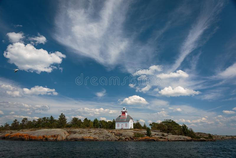 Jones Island Lighthouse Georgian Bay stockfotos