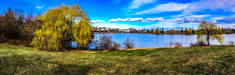 Jones Lake, centro de la ciudad de Moncton, Canadá imagen de archivo libre de regalías