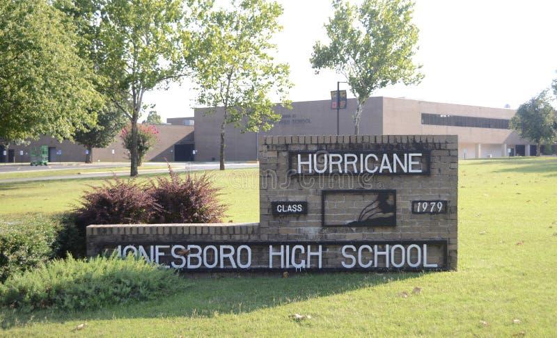 Jonesboro High School Hurricanes. Jonesboro High School for the Performing Arts Center, Jonesboro Arkansas High School in Jonesboro, Arkansas Home of the royalty free stock photography