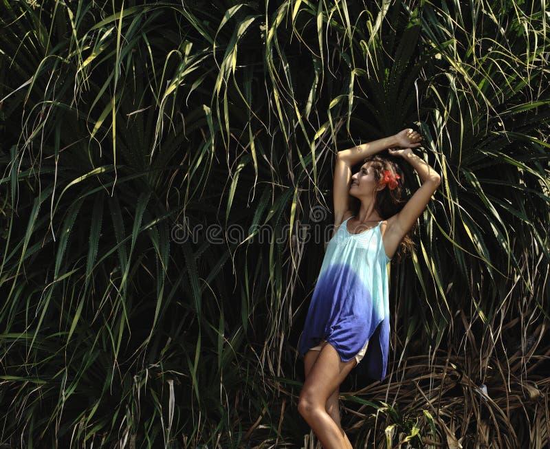 Jong aanbiddelijk mooi meisje met vlechtenkapsel royalty-vrije stock afbeeldingen