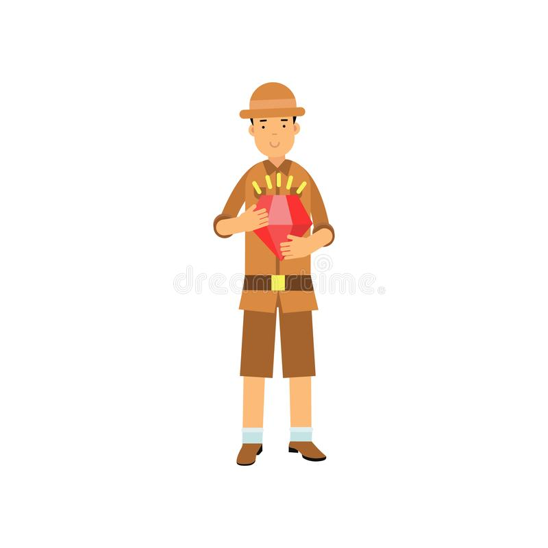 Jong archeologenkarakter die zich met rood juweel in handen bevinden vector illustratie
