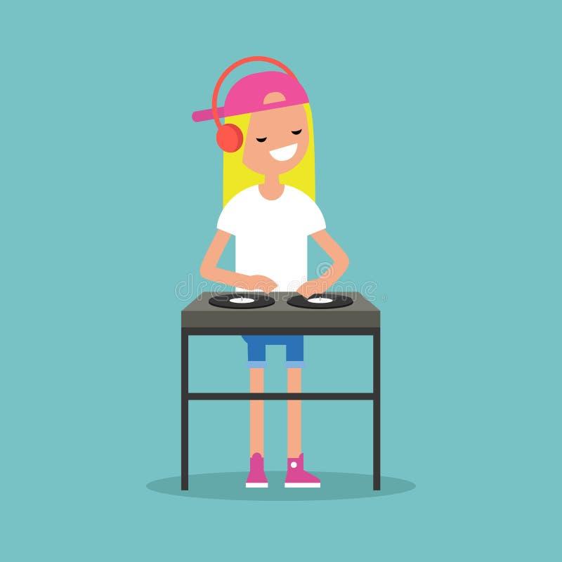 Jong blond meisje DJ die hoofdtelefoons dragen en een verslag o krassen stock illustratie