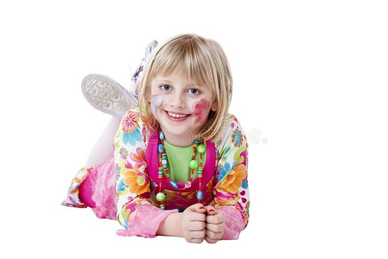 Jong blond mooi meisje in Carneval kostuumglimlachen royalty-vrije stock foto's