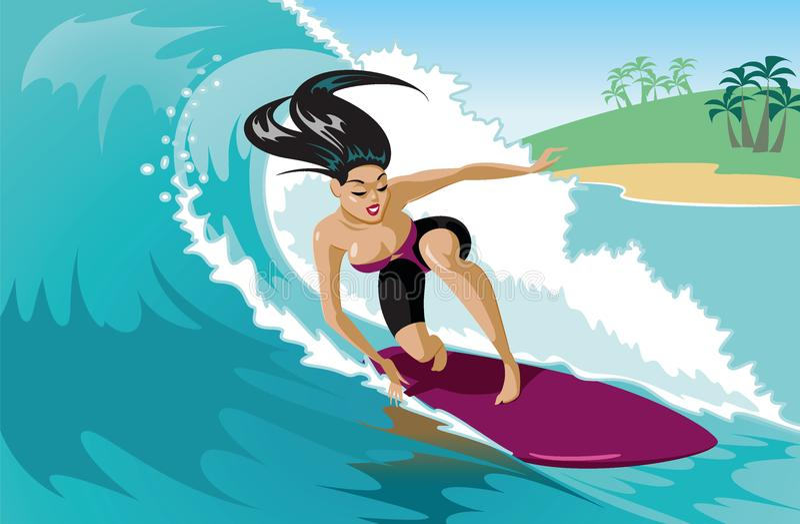 Jong brandingsmeisje met surfplank die een golf berijden vector illustratie
