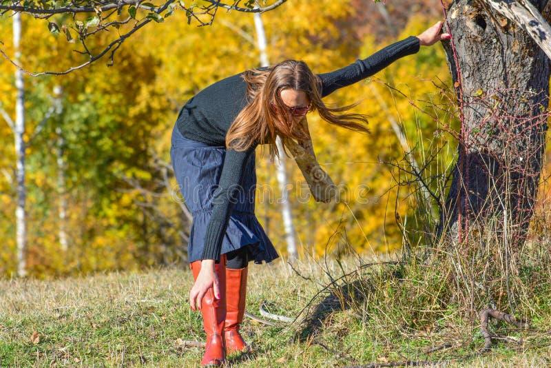 Jong brunette op de herfstbergweide royalty-vrije stock afbeelding