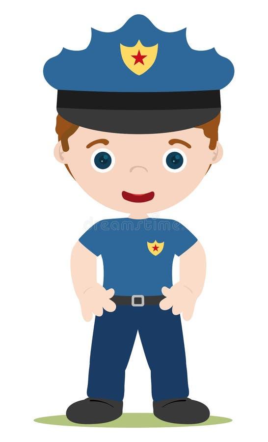 Jong cop beeldverhaal vector illustratie
