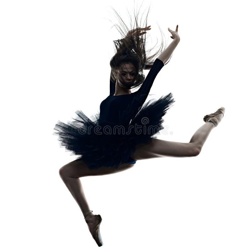 Jong de balletdanser dansend ge?soleerd wit van de vrouwenballerina silhouet als achtergrond stock afbeeldingen